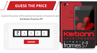 Guess the Price in India and Win Karbonn titanium Frames S7 Smart Phone Free only on Shopclues