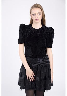 black velvet dress retro vintage 80's fashion blog netstylistka