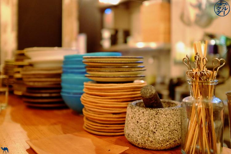 Céramiques japonaise  du restaurant gastronomique Dersou à Paris  - Le Chameau Bleu