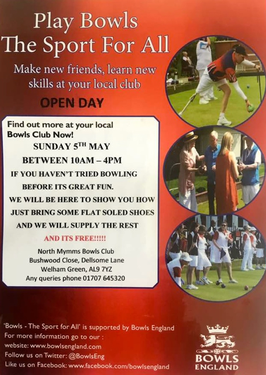 North Mymms Bowls Club open day flyer
