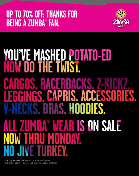 zumba zumbawear black friday cyber monday sale 70% off 98ba74cd390