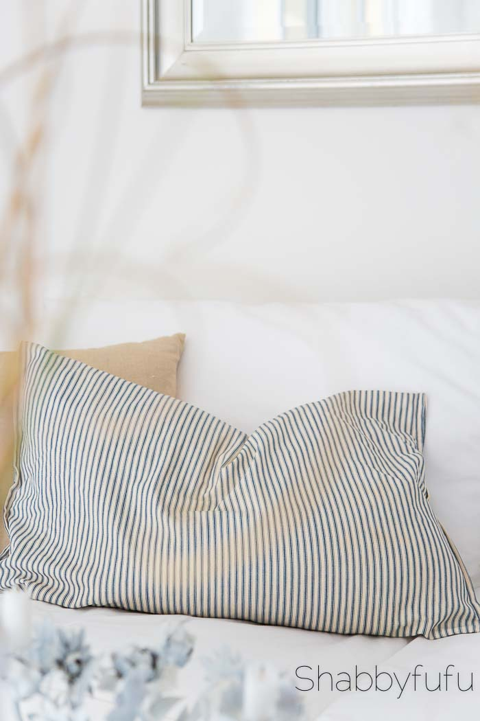 vintage ticking stripe pillow shabbyfufu