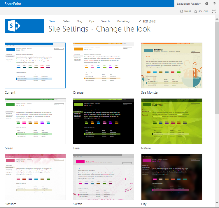 create a new composed look sharepoint 2013
