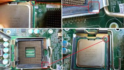 cocokkan segitiga yang ada pada socket dan prosesor