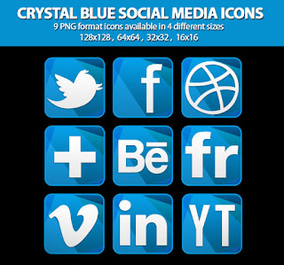 Crystal Blue Social Media Icons Set