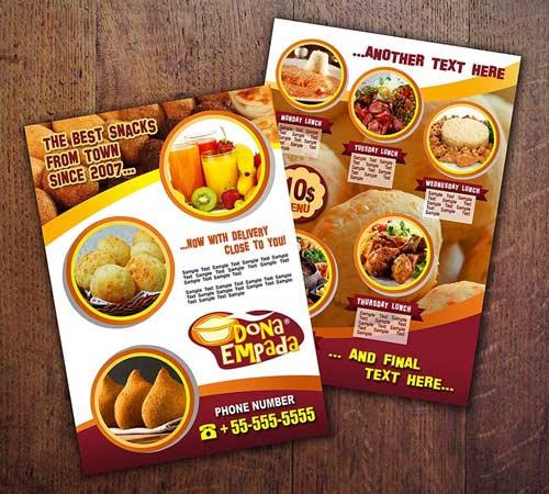15 Contoh Desain Brosur Makanan Ringan Keren Unik Grafis Media