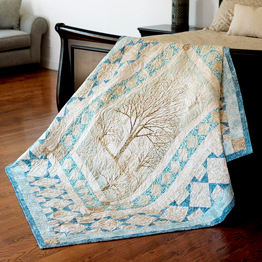Trail's End Quilt Free Pattern designed by Robert Kaufman Fabrics featuring Sound of the Woods