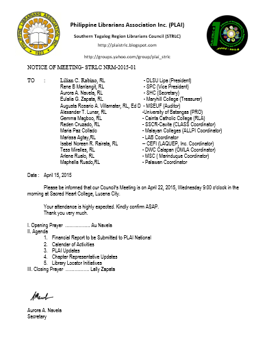 PLAI - Southern Tagalog Region Librarians Council: Notice of
