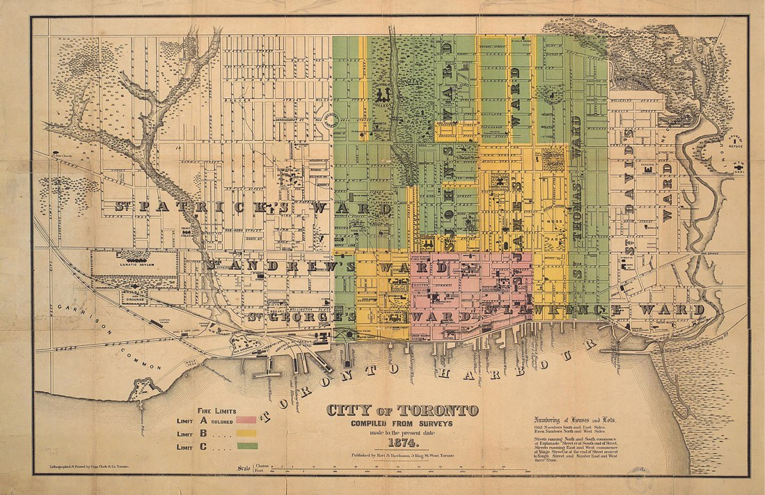 1874 Hart & Rawlinson City of Toronto with Fire Limits overlay