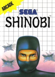 Portada del cartucho de la Sega Master System del videojuego Shinobi, 1988