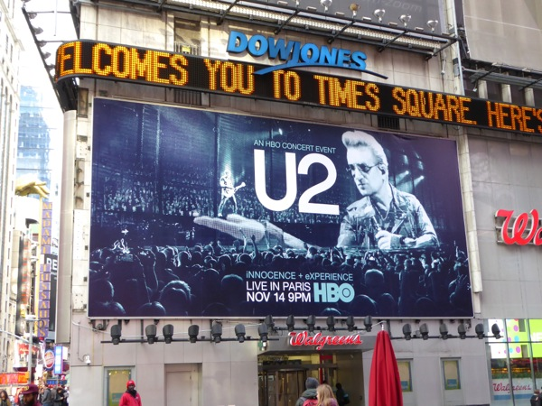 U2 Live in Paris HBO billboard Times Square
