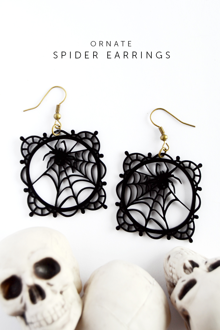 finished ornate spider earrings lead