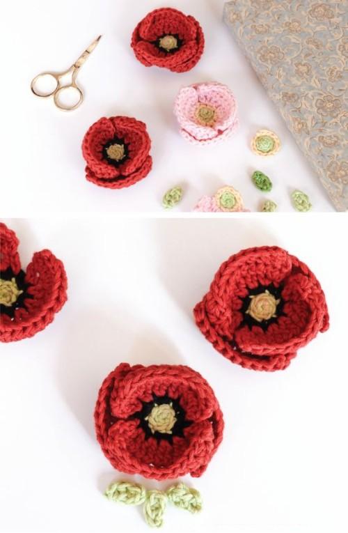 Crochet Poppy Flower  - Free Pattern