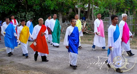 The Apostoles on a colorful clothes during the Prusisyon