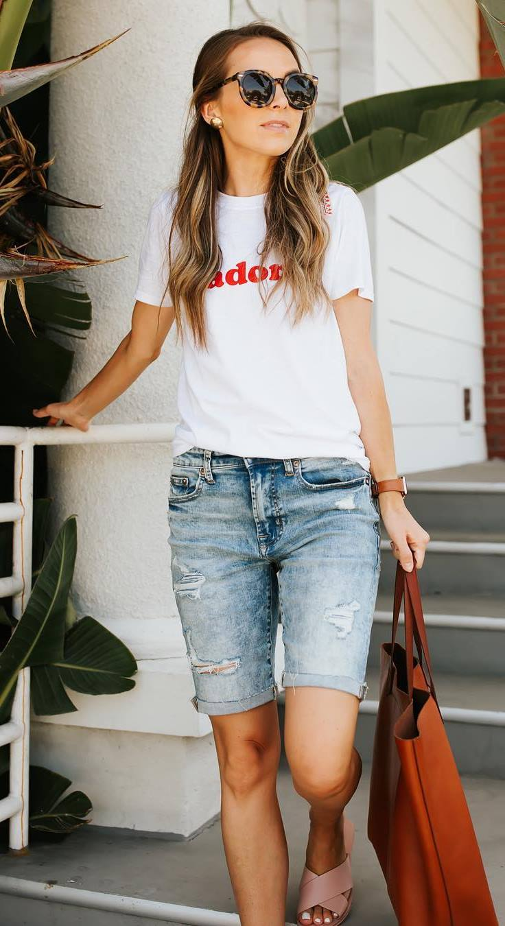 summer casual style addiction / printed tee + denim shorts + bag