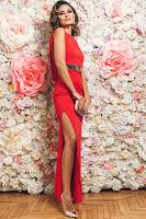 Rochie de ocazie lunga PrettyGirl rosie fara maneci • PrettyGirl