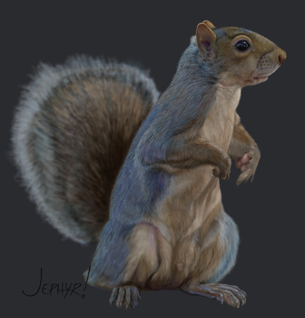 My Initial Digital Painting Of The Squirrel BEFORE I started Adding Some Fantasy Elements To It
