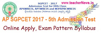 AP SGPCET 2017 Notification, Online Application Form, APSW Residential Schools 5th Class Admission test 2017