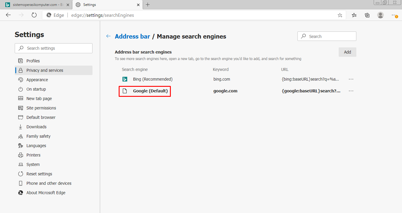 Cara Mengganti Search Engine Microsoft Edge