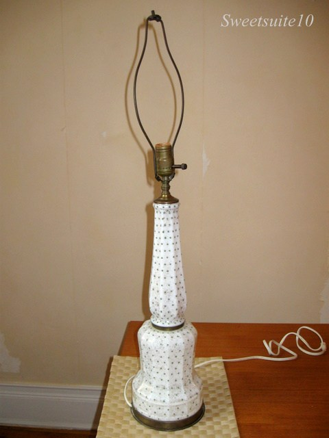 antique white lamp with green polkadots
