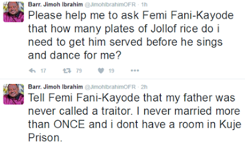 Twitter War Between Femi Fani Kayode and Jimoh Ibrahim