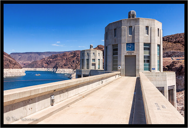 Intake towers at Hoover Dam on the Arizona side.