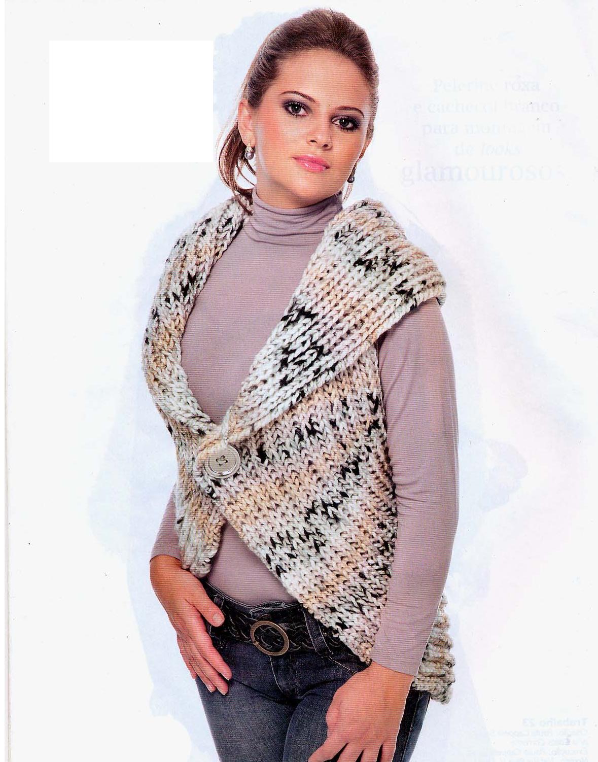 Chaleco circular lana jaspeada