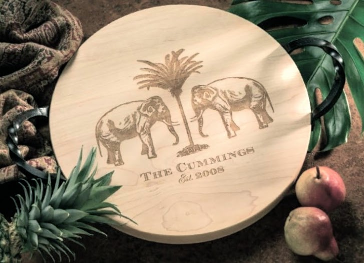 personalized lazy susan, wood cutting board
