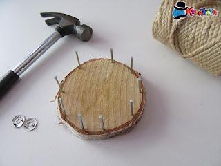 disco di legno per cestino con spago fai da te