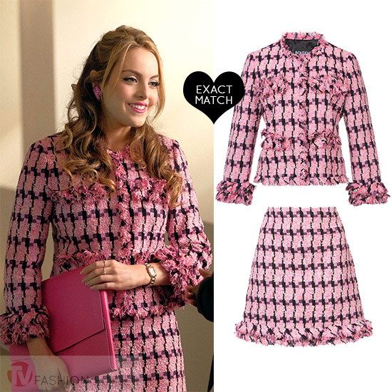 Fallon Carrington in pink tweed jacket and pink tweed skirt on Dynasty  season 1 episode 4 944404d5b