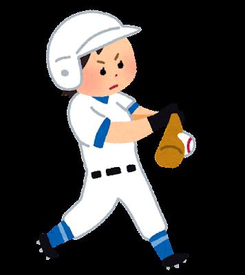 ボールを打つ野球選手のイラスト(女性)
