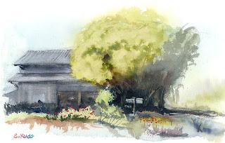 栗の木の家の水彩スケッチ