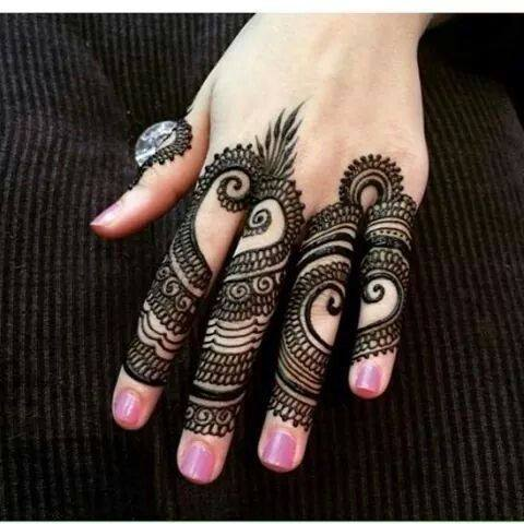 Lovely Finger Mehndi Desins