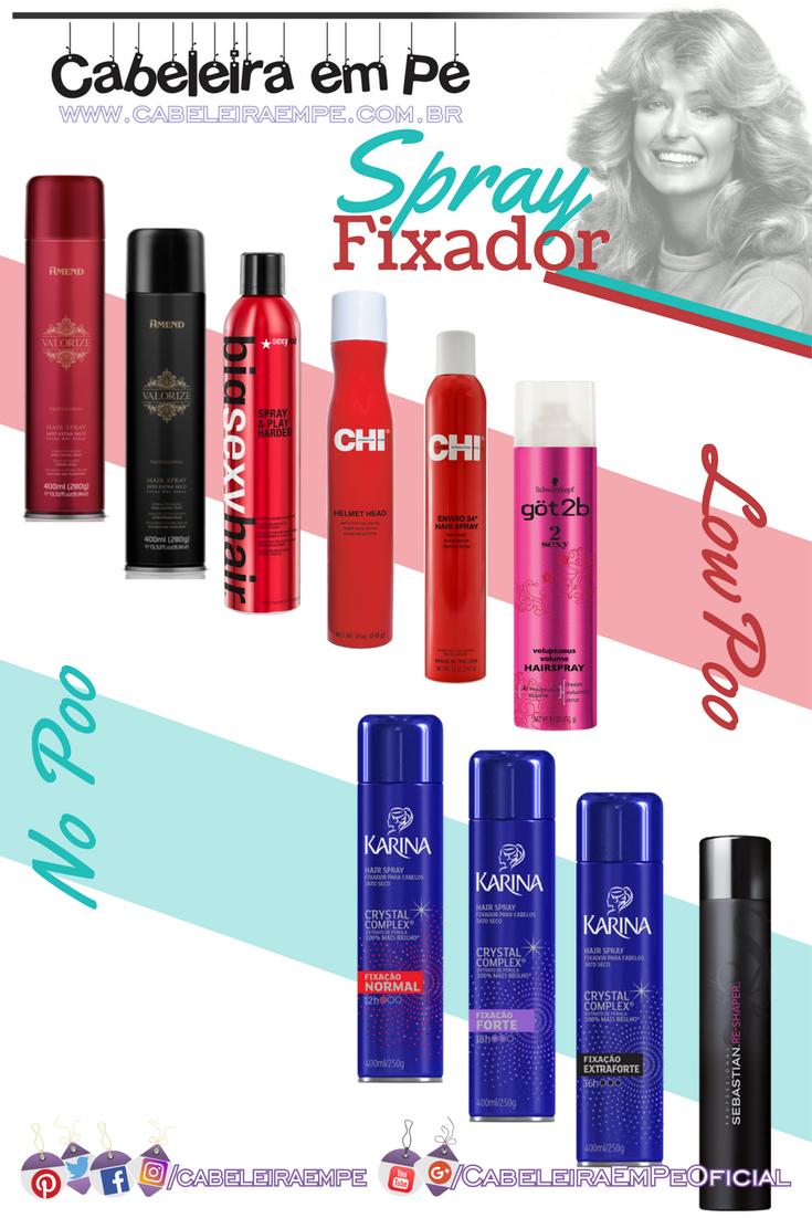 Sprays Fixadores para os cabelos liberados para No Poo e/ou Low Poo (Amend, Big Sexy Hair, CHI, Got2b (Schwarzkopf), Karina e Sebastian)