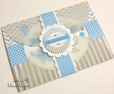 convite artesanal infantil personalizado anviersário 1 aninho chá de bebê fraldas menina elefantinho chevron cinza azul claro delicado festa personalizada scrap scrapbook scrapfesta menino