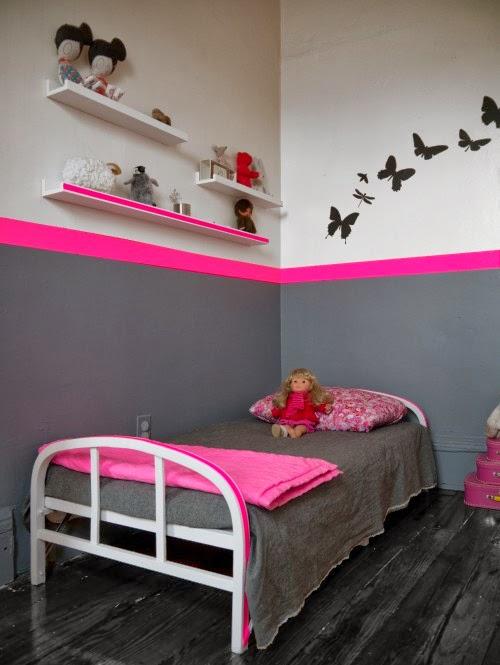 Cuarto niña rosa y gris
