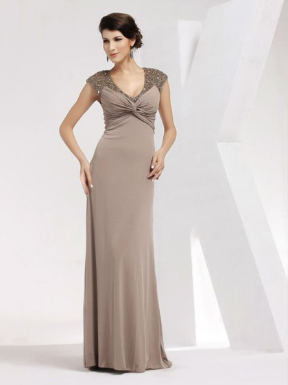 Sheath/Column V-neck Chiffon Floor-length with Criss Cross Prom Dress