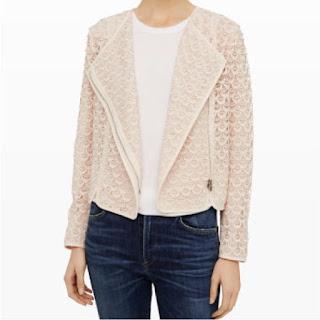 Pink lace zip up moto jacket