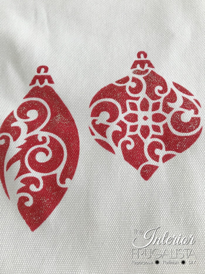 Stenciled Ornament Pillow Covers With Glitter