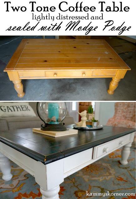 coffee table redo antique mirror tray