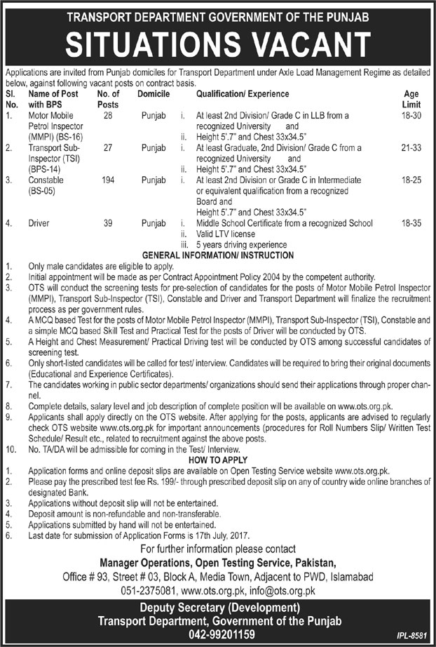 OTS Jobs in Transport Department Punjab 2017