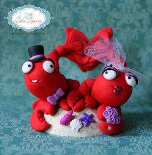 pretty awesome lobster wedding cake topper