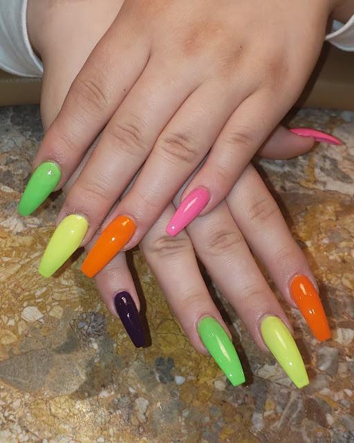Love wearing vibrant acrylic coffin nail colors 24+ Gorgeous Ombre Acrylic Coffin Nails To Wear Vibrant Nail Colors