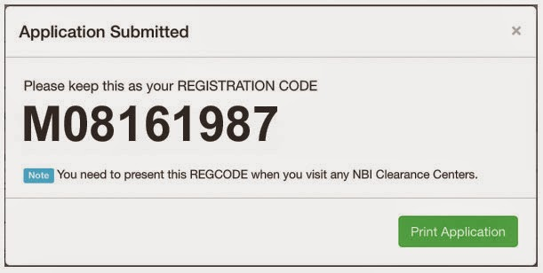 Image: Example of NBI Clearance Registration Code Online