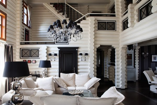 Interior Wooden House Themed Black And White Unique