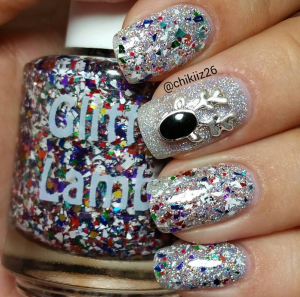 """NEW- """"Rudolph's SnowGlobe"""" Glitter Lambs Nail Polish- Custom Handmade Indie Christmas Lacquer- Nails Swatch by @chikiiz26"""