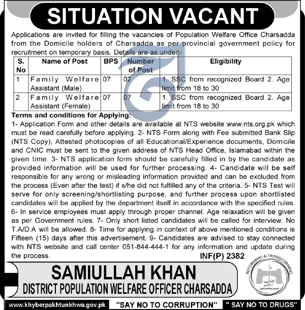 Jobs In Population Welfare Office Charsadda 20 May 2017