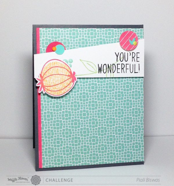 You're Wonderful Card for Waffle Flower Challenge