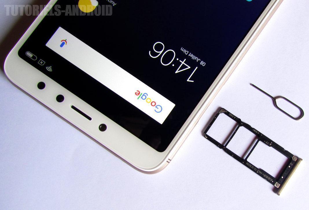 Redmi S2 : Emplacement carte SIM + Carte mémoire MicroSD