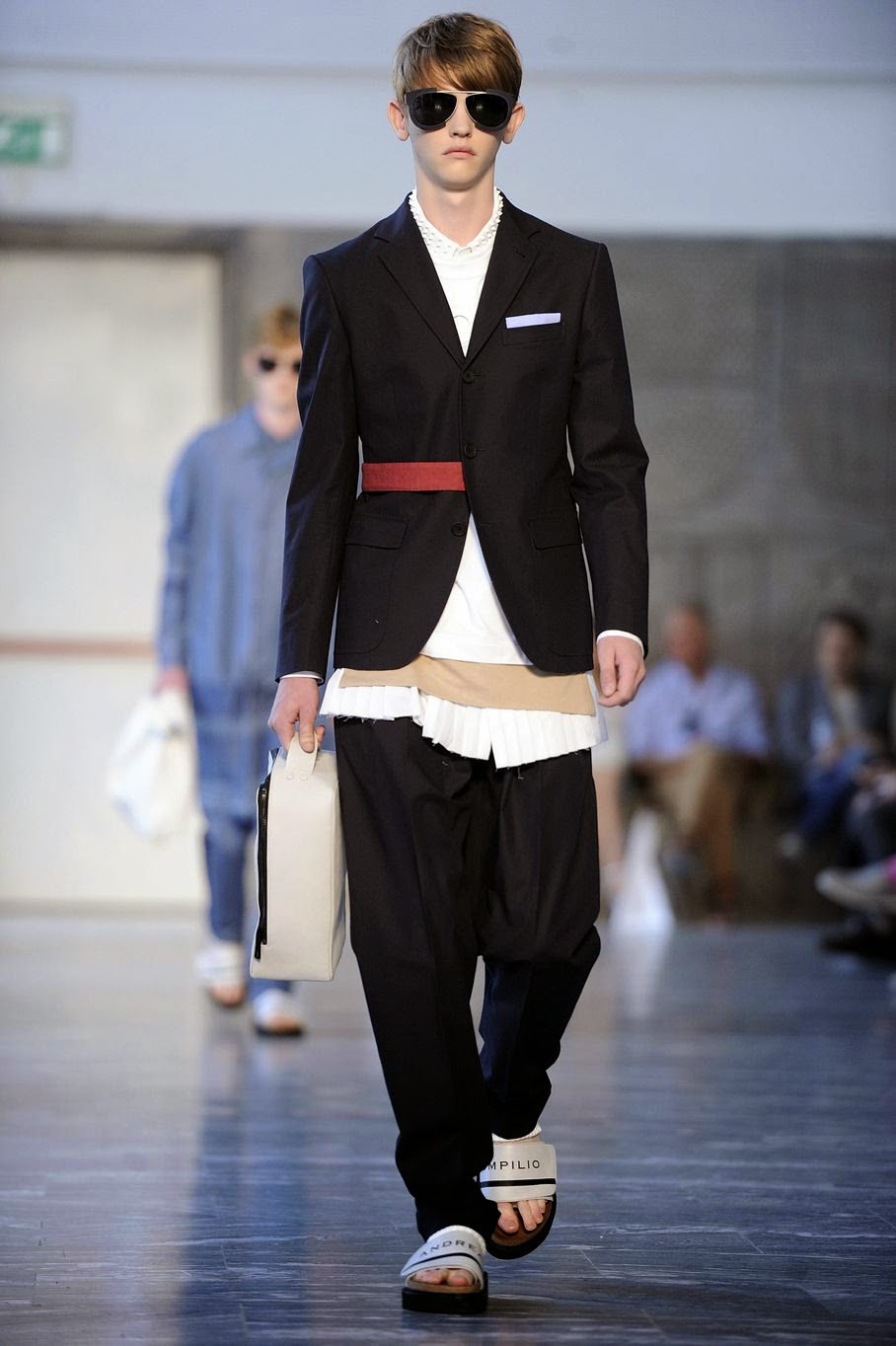 A model wears a creation for Andrea Pompilio men's Spring-Summer 2015 collection, part of the Milan Fashion Week, unveiled in Milan, Italy, Saturday, June 21, 2014.